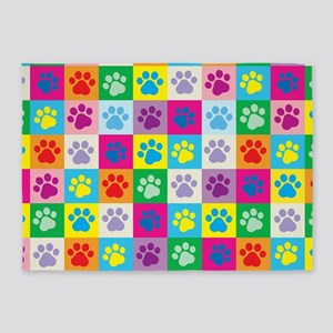 Dog Paws Patchwork Pattern 5'x7'Area Rug