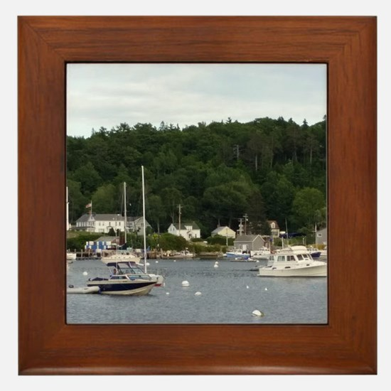 Boothbay Harbor Waterfront Boats Framed Tile