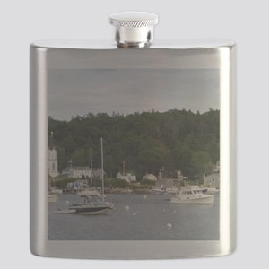 Boothbay Harbor Waterfront Boats Flask