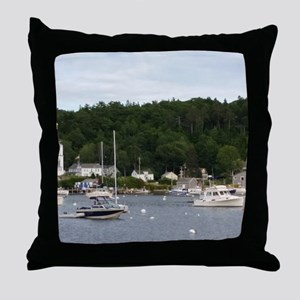 Boothbay Harbor Waterfront Boats Throw Pillow