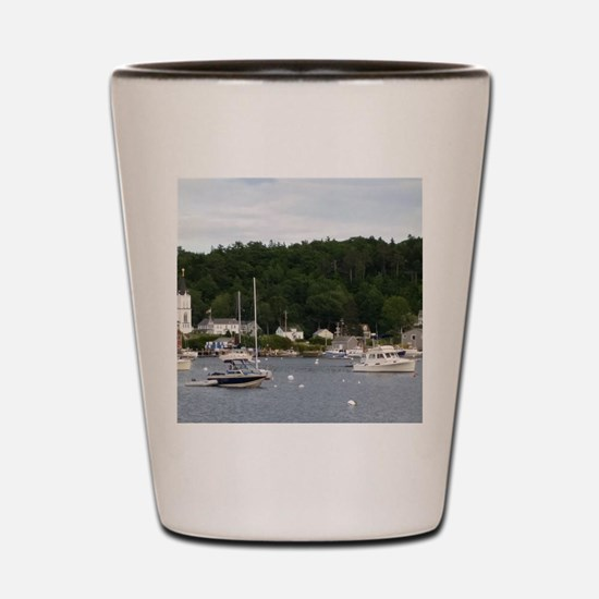 Boothbay Harbor Waterfront Boats Shot Glass