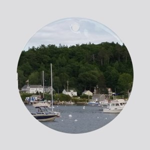 Boothbay Harbor Waterfront Boats Round Ornament