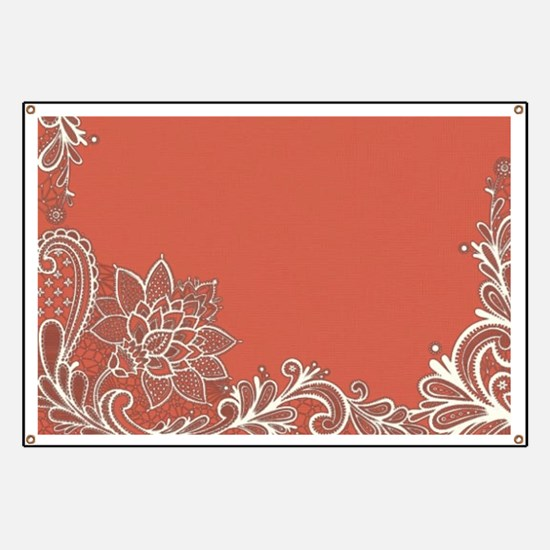 mandarin coral white lace Banner