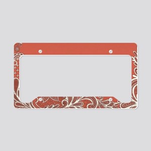 mandarin coral white lace License Plate Holder