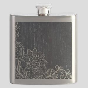 white lace black chalkboard Flask