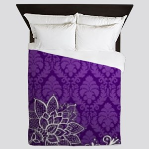 purple damask white lace Queen Duvet
