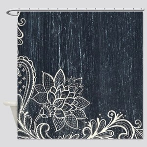 white lace black chalkboard Shower Curtain