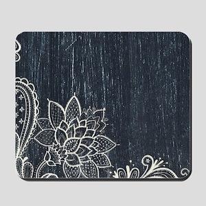 white lace black chalkboard Mousepad