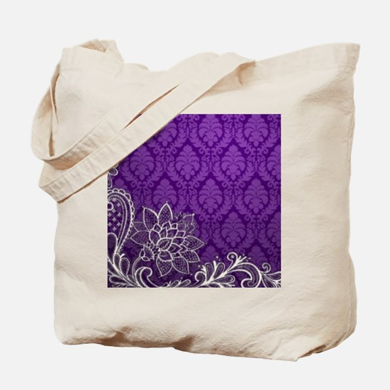 purple damask white lace Tote Bag