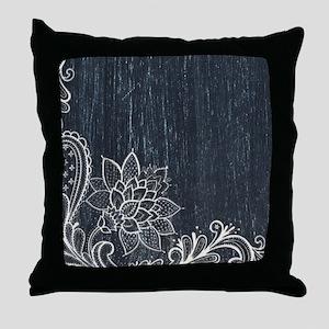 white lace black chalkboard Throw Pillow