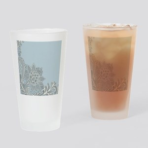 white lace pastel blue Drinking Glass