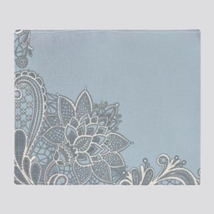 white lace pastel blue Throw Blanket