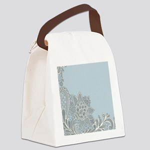 white lace pastel blue Canvas Lunch Bag