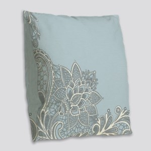 white lace pastel blue Burlap Throw Pillow