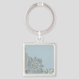 white lace pastel blue Square Keychain