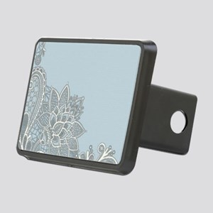white lace pastel blue Rectangular Hitch Cover