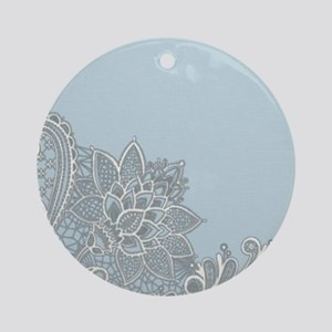 white lace pastel blue Round Ornament