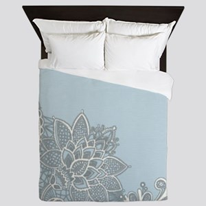 white lace pastel blue Queen Duvet