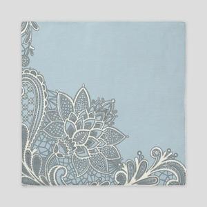white lace pastel blue Queen Duvet