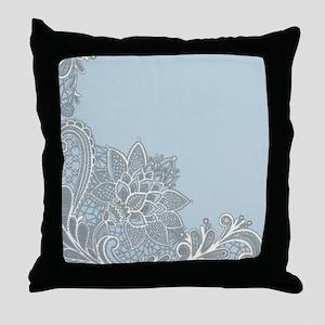 white lace pastel blue Throw Pillow