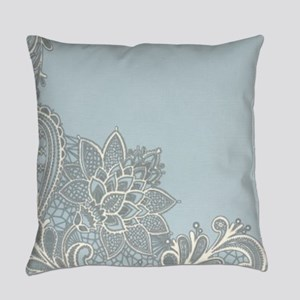 white lace pastel blue Everyday Pillow