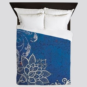beach blue white lace  Queen Duvet