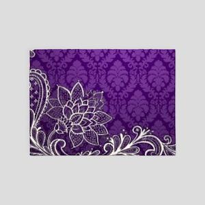 purple damask white lace 5'x7'Area Rug