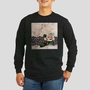 paris black lace white rose Long Sleeve T-Shirt