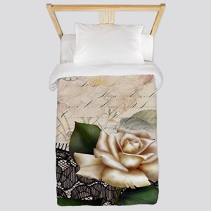 paris black lace white rose Twin Duvet