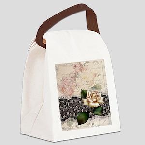 paris black lace white rose Canvas Lunch Bag