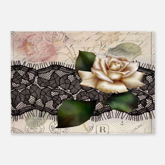 paris black lace white rose 5'x7'Area Rug
