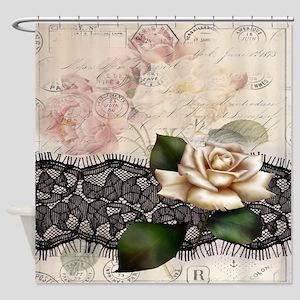 Paris Black Lace White Rose Shower Curtain
