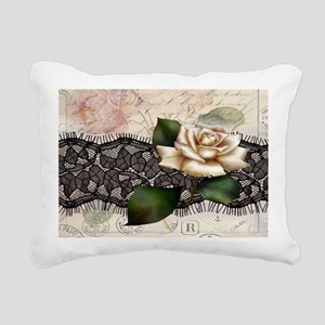 paris black lace white r Rectangular Canvas Pillow