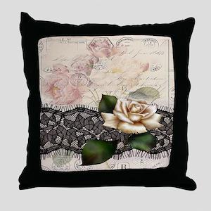 paris black lace white rose Throw Pillow