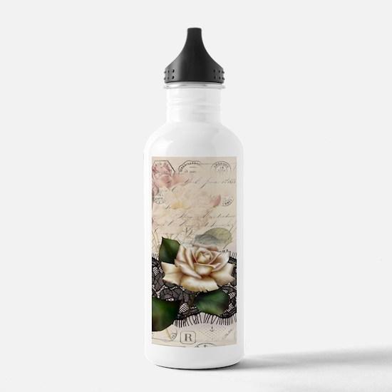 paris black lace white Water Bottle