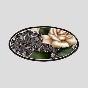 paris black lace white rose Patch
