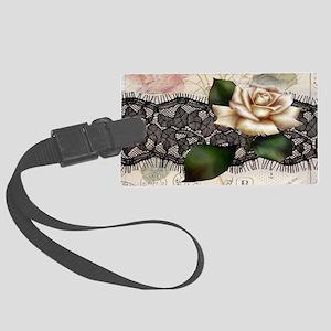 paris black lace white rose Large Luggage Tag