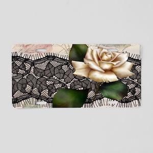 paris black lace white rose Aluminum License Plate