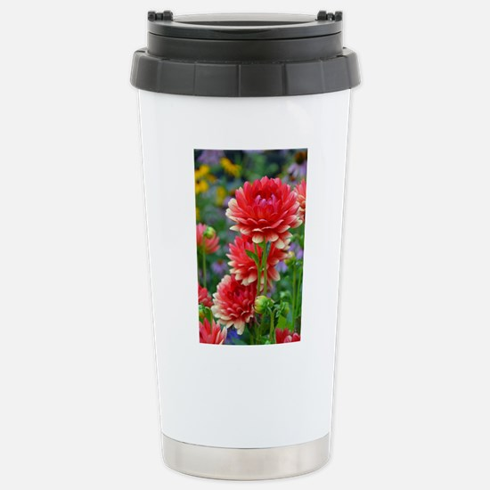 Red and yellow dahlia f Stainless Steel Travel Mug