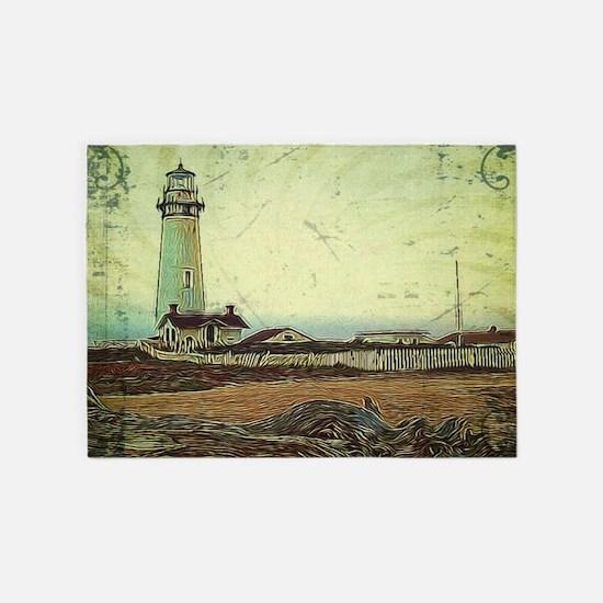 coastal nautical vintage lighthouse 5'x7'Area Rug