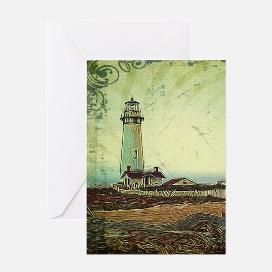coastal nautical vintage lighthouse Greeting Cards