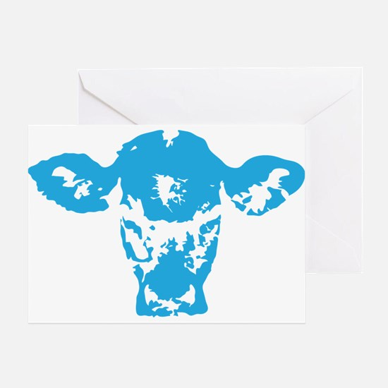 Blue cow Greeting Card