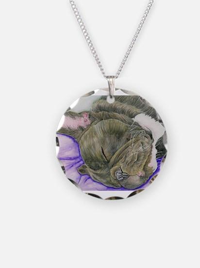Sleepy Frenchie Necklace Circle Charm