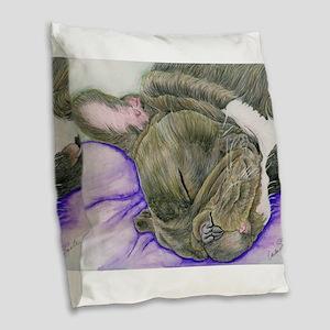 Sleepy Frenchie Burlap Throw Pillow