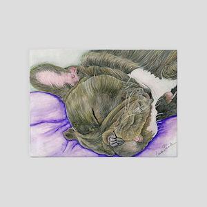 Sleepy Frenchie 5'x7'Area Rug