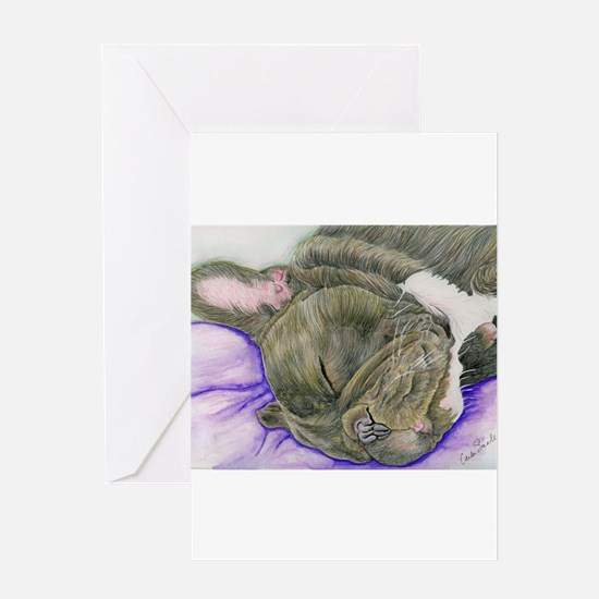 Sleepy Frenchie Greeting Cards