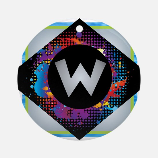 W - Letter W Monogram - Black Dia Ornament (Round)