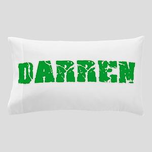Darren Name Weathered Green Design Pillow Case