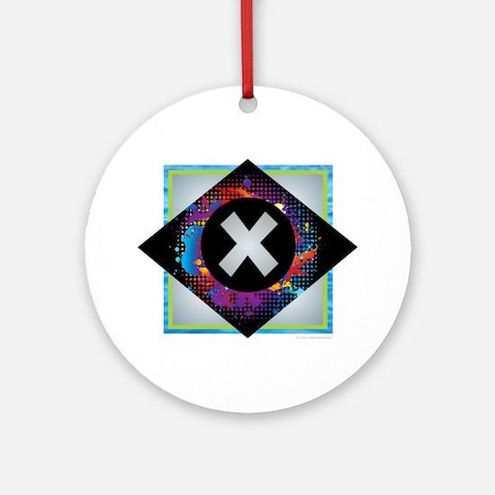 X - Letter X Monogram - Black Dia Ornament (Round)
