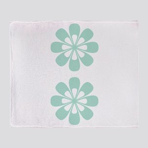 Abstract Retro Mint Green Flowers Throw Blanket